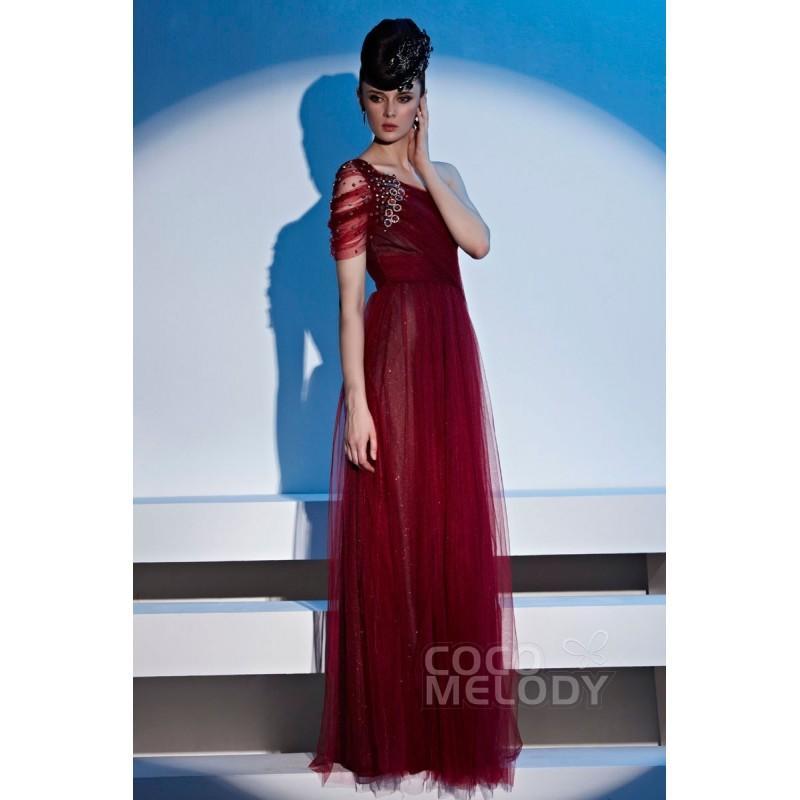 Wedding - Hot Sale Sheath-Column One Shoulder Floor Length Tulle Mother of The Bride Dress with Crystals COSF14049 - Top Designer Wedding Online-Shop