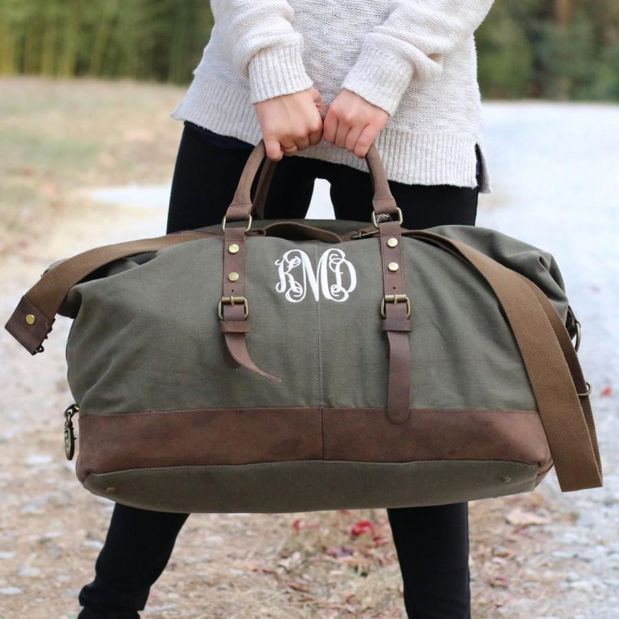 Mariage - The Caroline Personalized Bridesmaid Gift Women's Weekend Travel Duffel Bag Canvas Weekender, gifts for her, Bridesmaids gifts Wedding Party