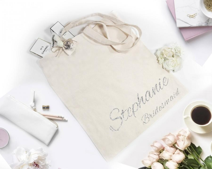 زفاف - Bridesmaid tote bag Personalized tote Bridesmaid gift Canvas tote Custom gift for bridesmaid Silver tote Personalized bag Custom tote bags