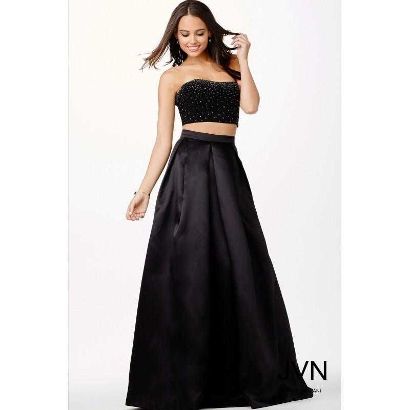 Black Designer Wedding Gowns: Jovani Black Two Piece Dress JVN22897