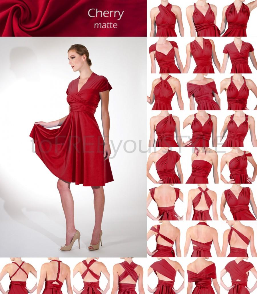 زفاف - Short convertible dress in CHERRY red matte, FULL Free-Style Dress, convertible bridesmaid dress, short infinity dress, date night, sexy