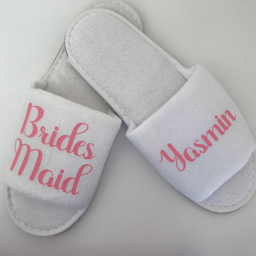 072cd4b5bc3 Personalised Wedding Slippers, Bridesmaid Slippers, Bride Slippers ...