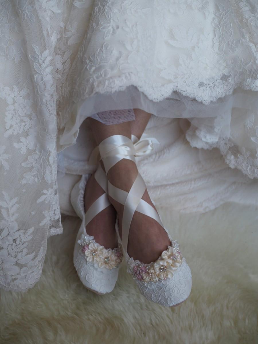 Blush Princess Bridal Ballet Shoes Rose Ballerina Wedding Slippers Lace Flats Custom Made