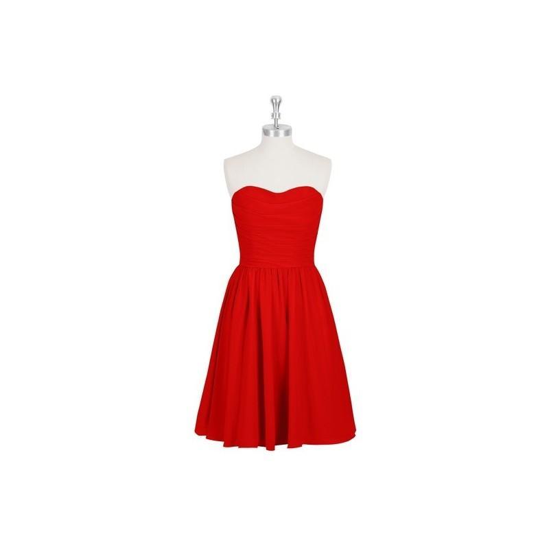 Wedding - Red Azazie Kaiya - Chiffon Knee Length Sweetheart Back Zip Dress - Cheap Gorgeous Bridesmaids Store