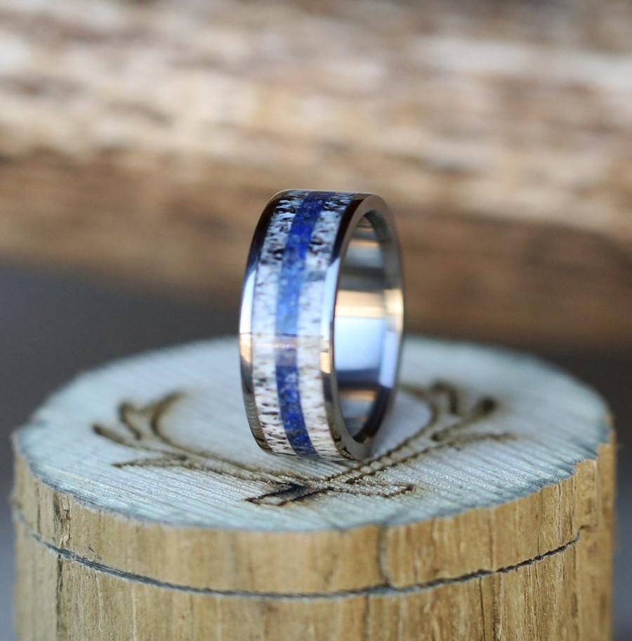 زفاف - Elk Antler Wedding Band with Lapis Lazuli Inlay - Staghead Designs