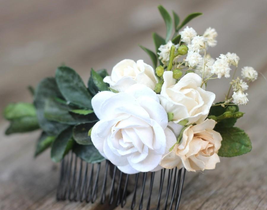 زفاف - Leaf Hair Comb - Bridal Hair Piece - Champagne Floral Hair Comb - Greenery Wedding Leaf - Preserved Baby Breath - Boxwood- Eucalyptus Leafs