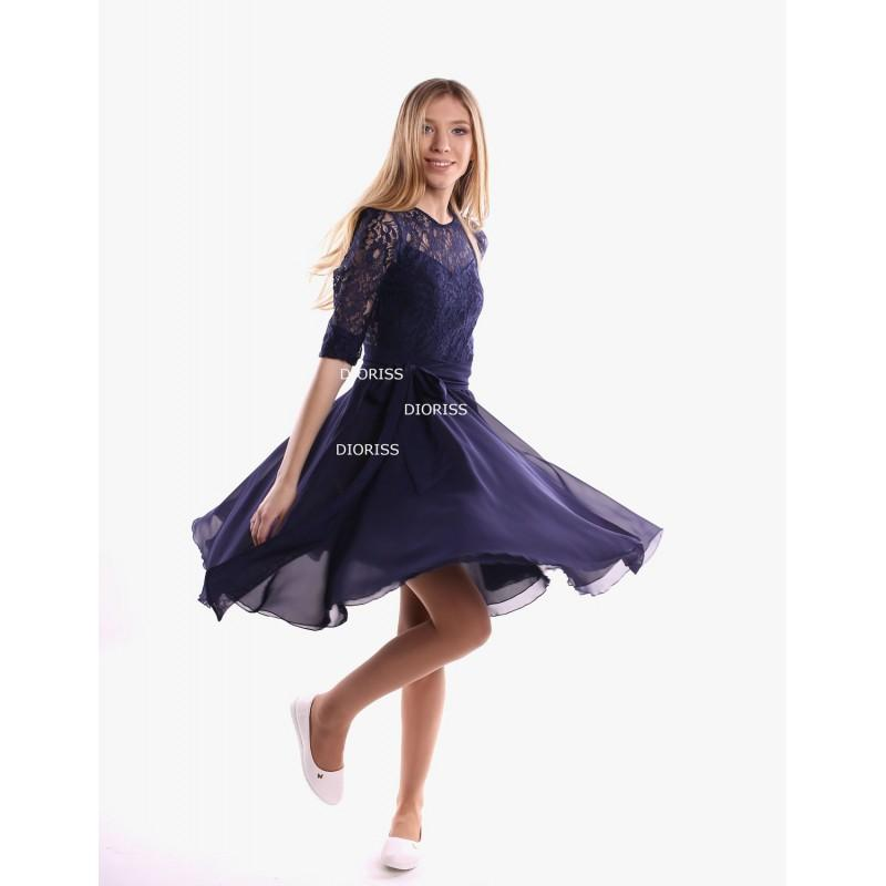 Свадьба - Navy Blue Color Dress the bridesmaids.Tea-Length Flare Dress Summer Wedding.Chiffon Cheap Bridesmaid Dress With Belt. - Hand-made Beautiful Dresses