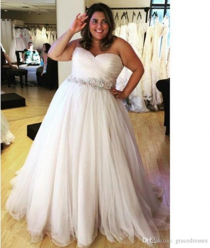 Plus Size Beach Wedding Dresses With Crystal Belt Pleated Sweetheart