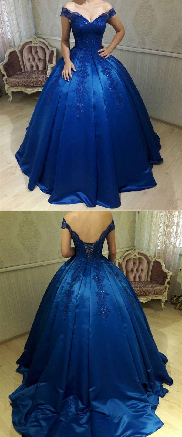 زفاف - Royal Blue Satin Ball Gowns Quinceanera Dresses V Neck Off-the-shoulder