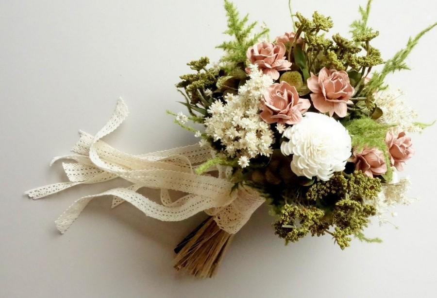 Bridal Bouquet Dried Flower Bouquet Vintage Wedding Blush Wedding
