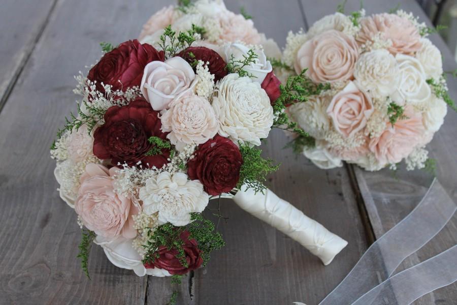 Mariage - Burgundy & Blush Pink Sola Wood Bouquet, Burgundy, Blush Pink, and Cream Sola Bouquet, Burgundy Sola Bouquet, Burgundy Wedding Bouquet