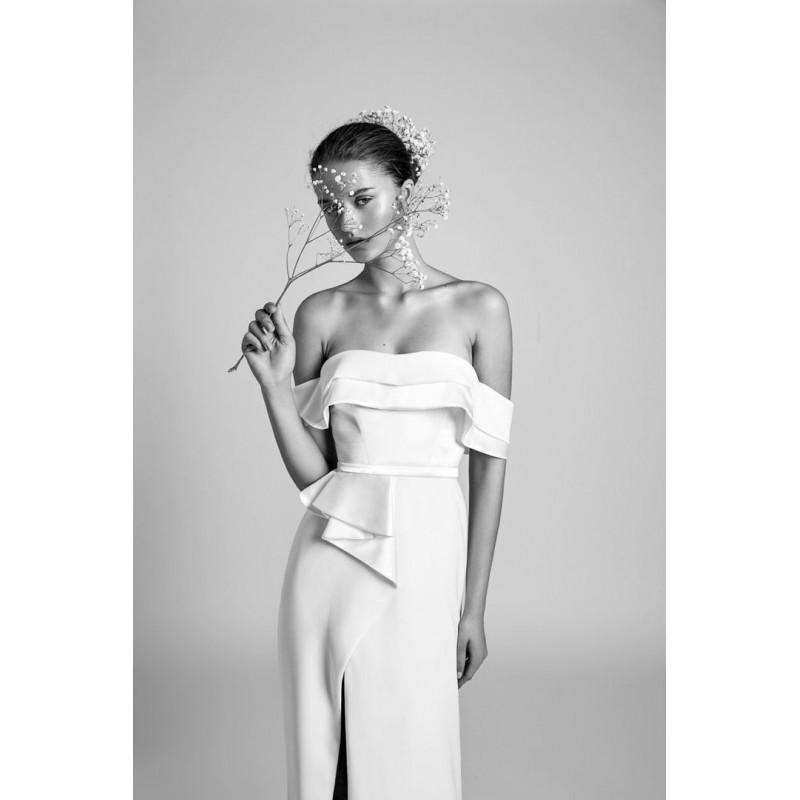 Wedding - Alon Livne White 2018 VIOLET Ruffle Satin Sweep Train Off-the-shoulder Simple Short Sleeves Ivory Column Wedding Dress - Bridesmaid Dress Online Shop