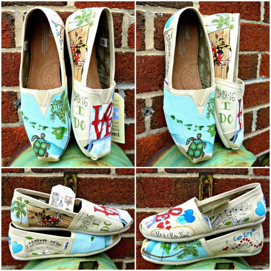 Bride S Love Story Wedding Shoes Flats Gift For Shower Beach Custom Painted