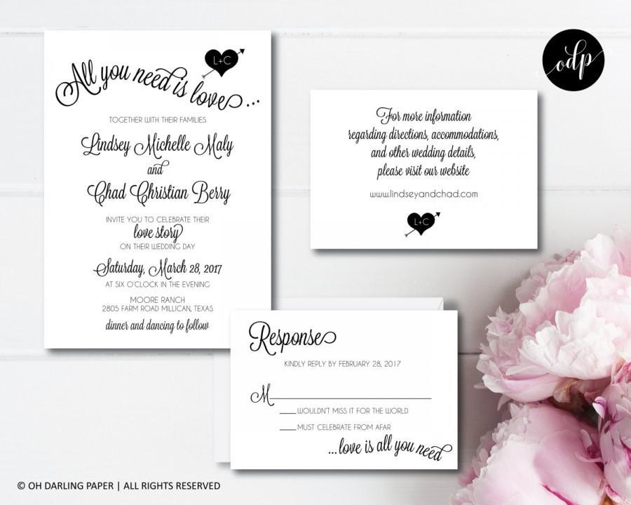 Printable Wedding Invitation All You Need Is Love Beatles Invite