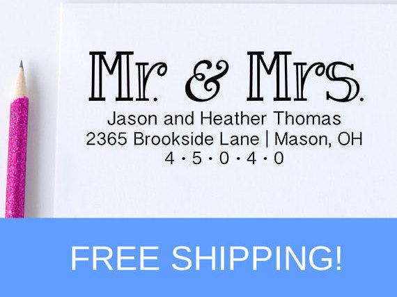Wedding - Return Address Stamp - Self Inking Address Stamp - Personalized Address Stamp   (D182)