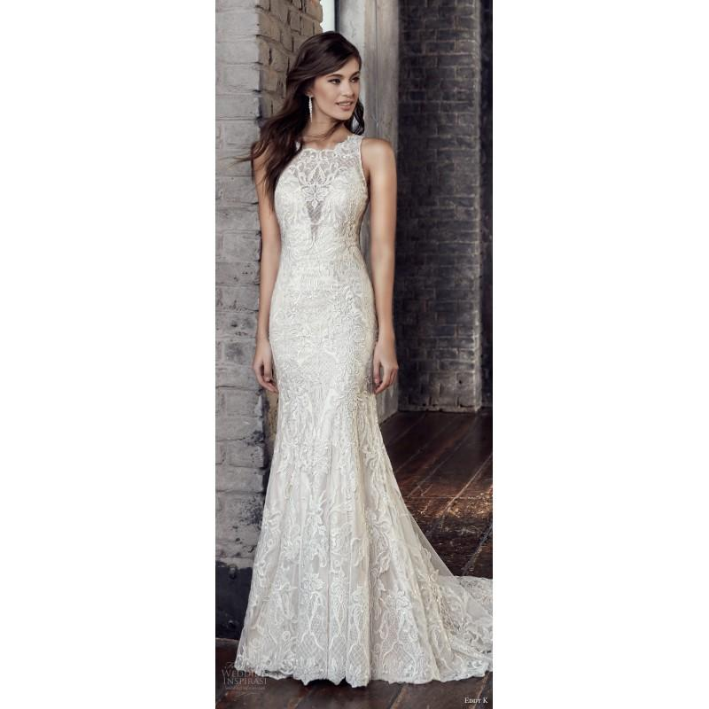 Wedding - Eddy K. CT206 2018 Chapel Train Elegant Ivory Sleeveless Jewel Column Spring Covered Button Hall Lace Beading Wedding Dress - Customize Your Prom Dress