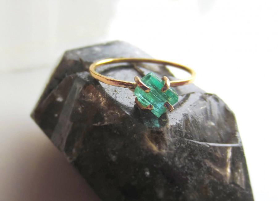 Mariage - Emerald Engagement Ring Raw Emerald Ring Raw Crystal Ring Gemstone Ring Minimalist Ring Natural Emerald Ring Alternative Engagement Ring Raw