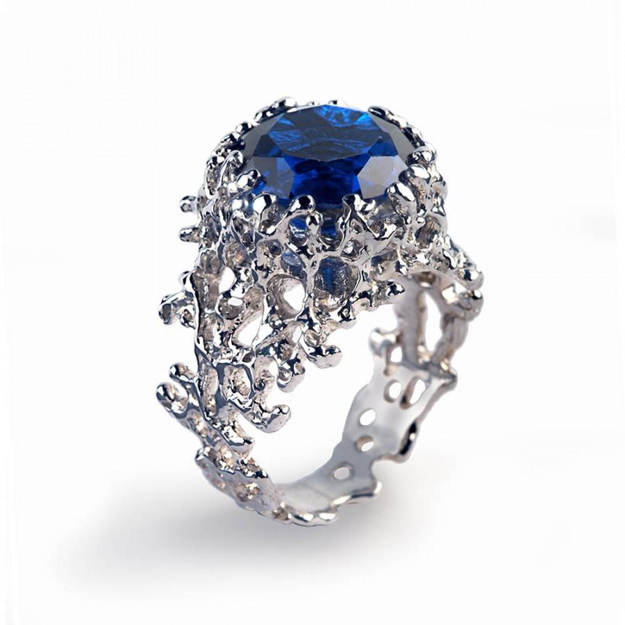 shop ring sapphire gold large platinum diamond cluster edwardian