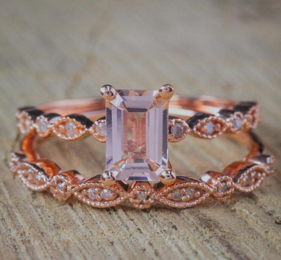 Mariage - Limited Time Sale 1.50 carat Antique milgrain Morganite and Diamond Affordable Bridal Wedding Ring Set in Rose Gold for Women