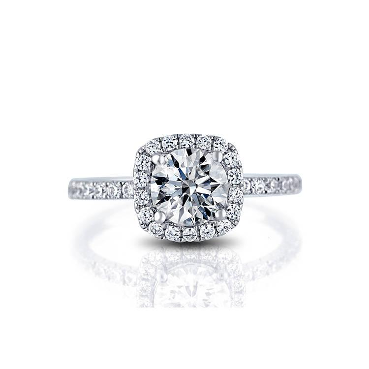 Mariage - SALE!! - French Pave Halo Engagement Ring 0.43cts diamonds F/VS-SI and with 1ct Diamond Stimulant(Free!) as a center stone.