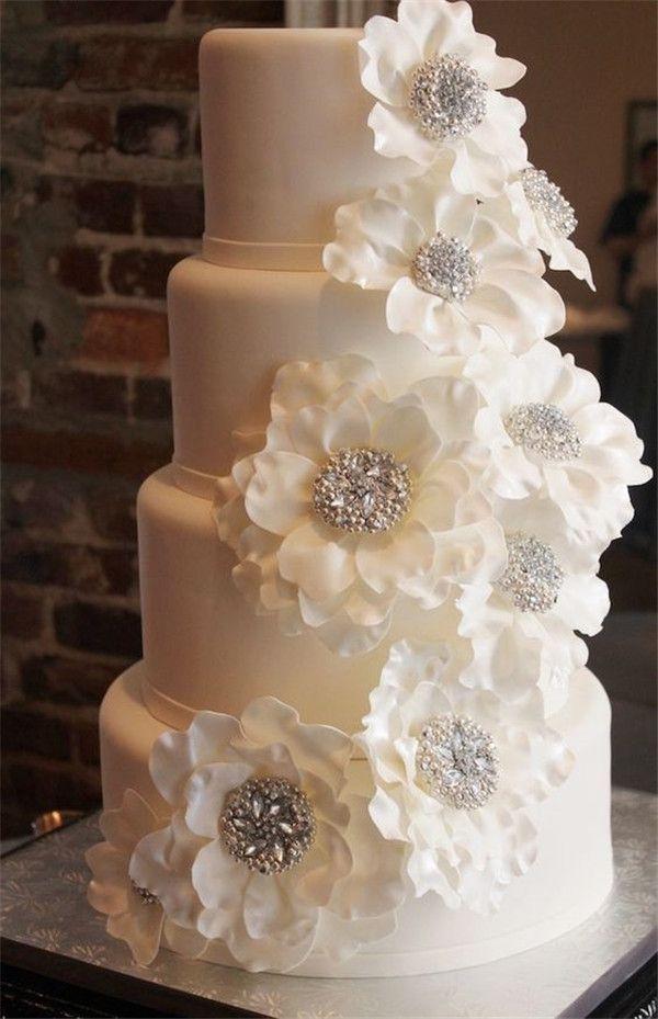 Gateau White Floral Wedding Cake 2799924 Weddbook