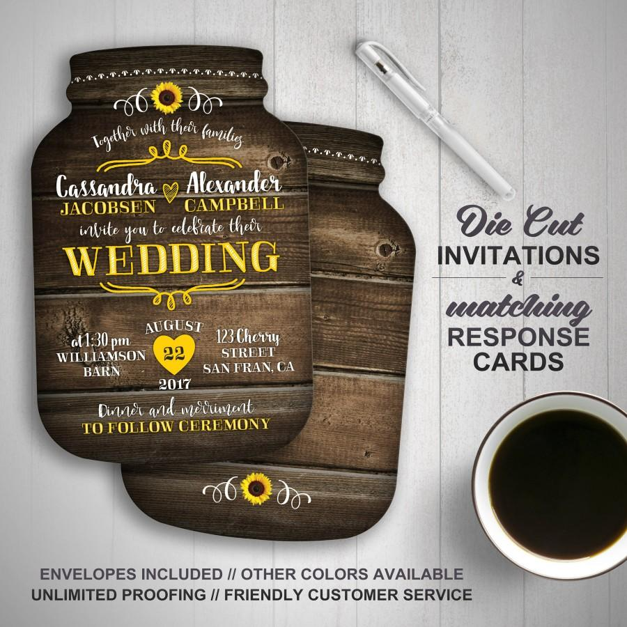 Hochzeit - Sunflower wedding invitation, Mason Jar Wedding Invitations, Mason Jar shaped cards, Country Wedding, Printed Wedding Invitations, rustic