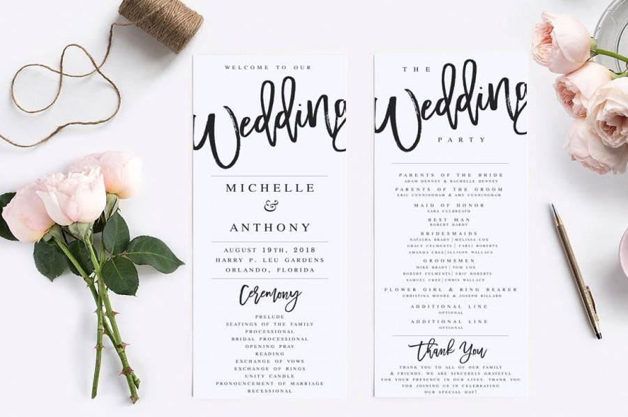 زفاف - Wedding Program Template Modern Wedding Program Template Rustic Wedding Program Wedding Program Printable Wedding Ceremony Template