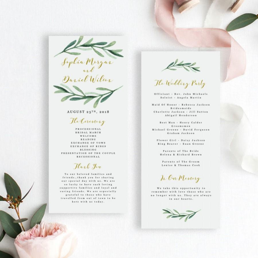 زفاف - Greenery Wedding Program Template, Printable Wedding Program Template, Editable Wedding Program Template, EDIT in MS WORD, Sophia