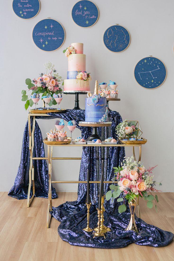 Свадьба - Unicorn And Galaxy-Themed Wedding Dessert Table Styled Shoot