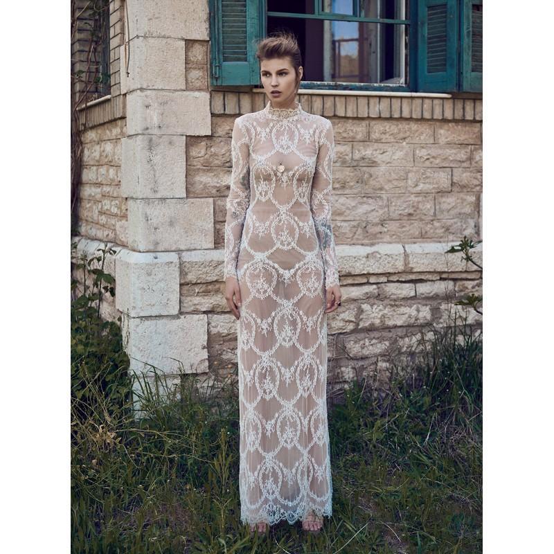 زفاف - Christos Costarellos Spring/Summer 2018 BR18 80 Column High Neck Long Sleeves Floor-Length Elegant Champagne Lace Bridal Dress - Brand Prom Dresses