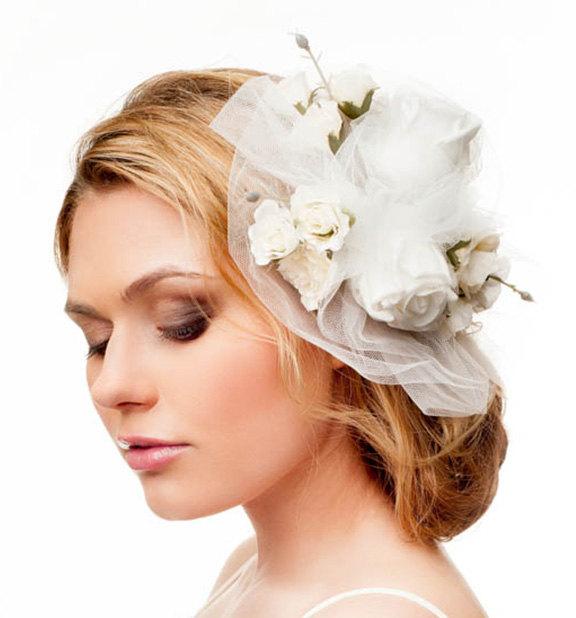 Wedding - Bridal floral hair accessory. Handmade bridal tulle veil. Flower crown veil. Bridal fascinator. Wedding hair crown. Flower leaf headpiece