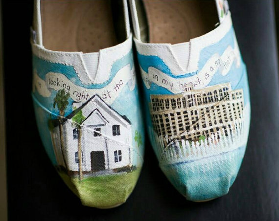 Bride S Love Story Wedding Shoes Toms Hand Painted Personalized Heirloom Gift For The Unique Shower