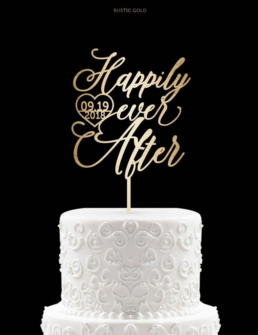 Mariage - Happily Ever After Cake Topper With Date Wedding Cake Topper for Wedding Modern Cake Topper Calligraphy Wedding Cake Topper 41