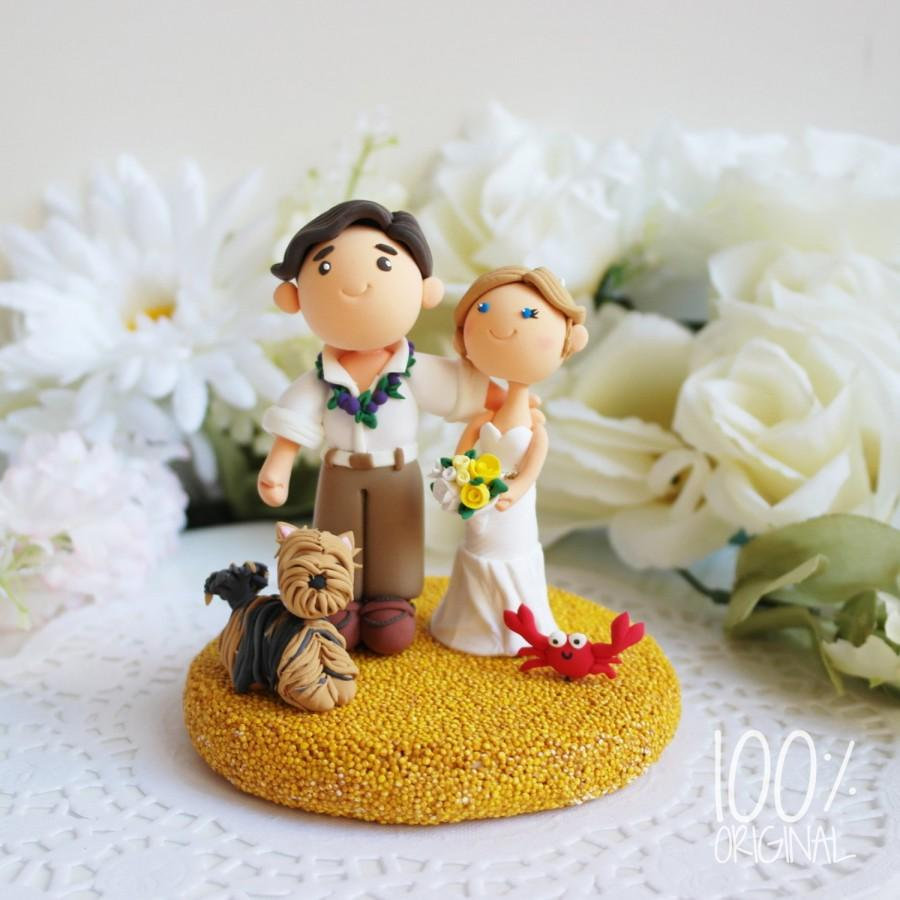 Mariage - Custom Cake Topper- Beach Wedding with a Yorky