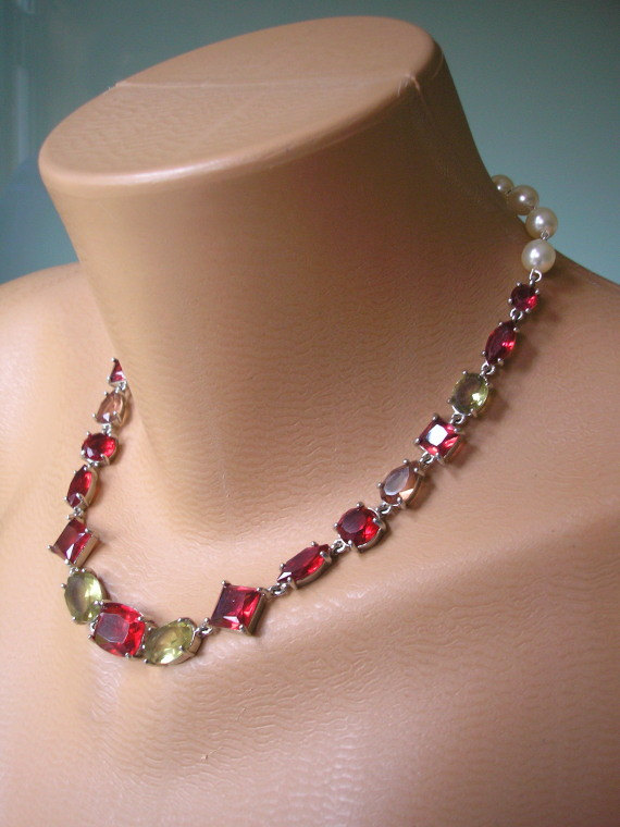 Wedding - Red Rhinestone Necklace
