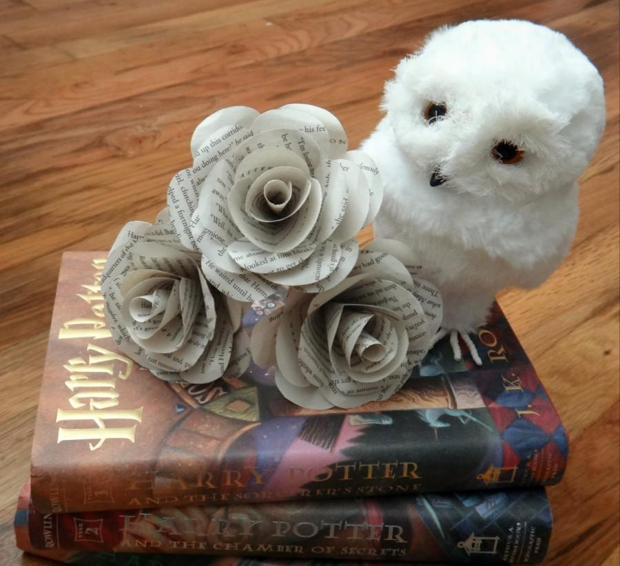 Свадьба - Harry Potter Book Page Flowers, White Book Page Roses