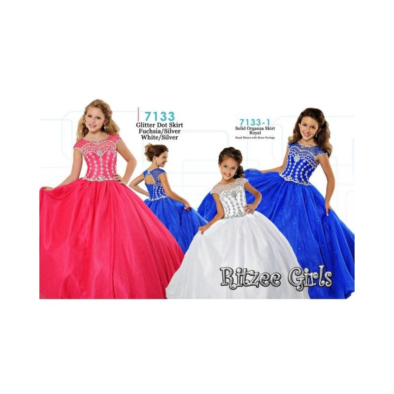 Ritzee Girls 7133 Pageant Dress - Ritzee Girls Illusion, Scoop ...