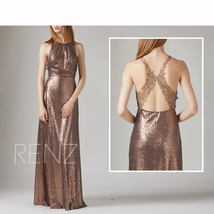زفاف - Bridesmaid Dress Bronze Sequin Wedding Dress,Jewel Neck Fitted Long Prom Dress,Illusion Lace Back Evening Dress,Sleeveless Maxi Dress(HQ541)