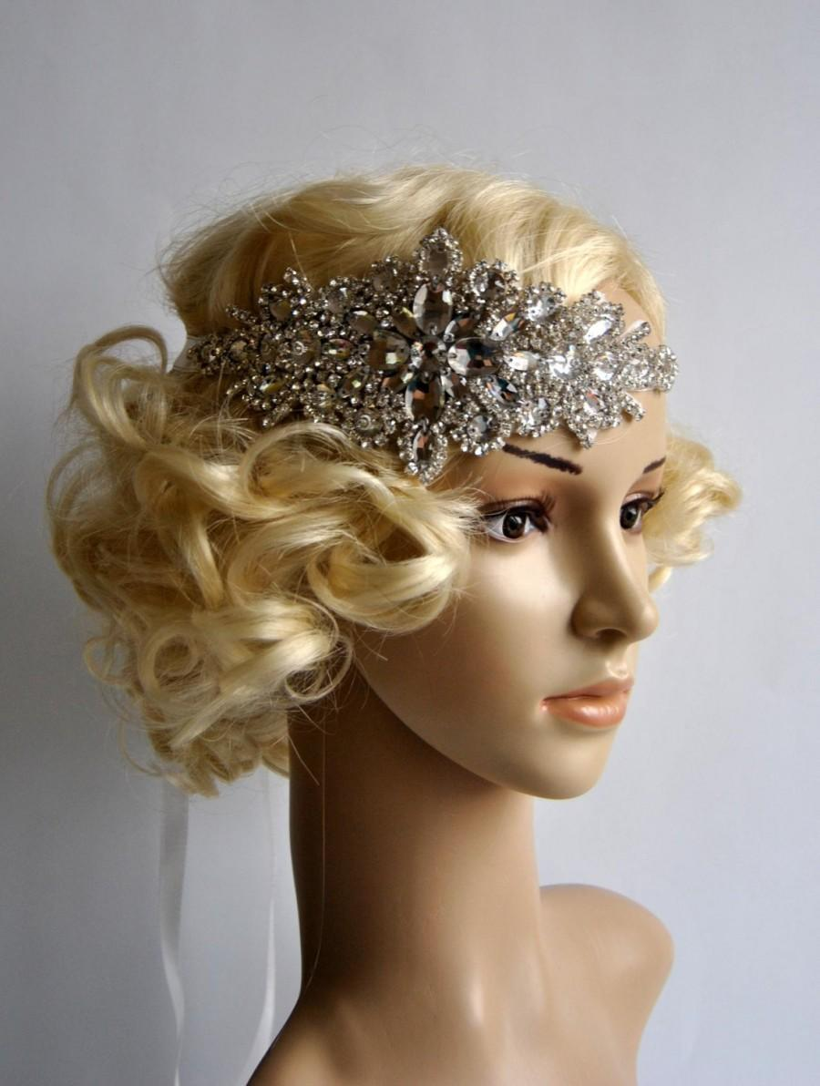 Hochzeit - Glamour Rhinestone flapper Gatsby Headband, Wedding Crystal HeadbandHairpiece Headpiece, Bridal Headpiece, 1920s Flapper headband