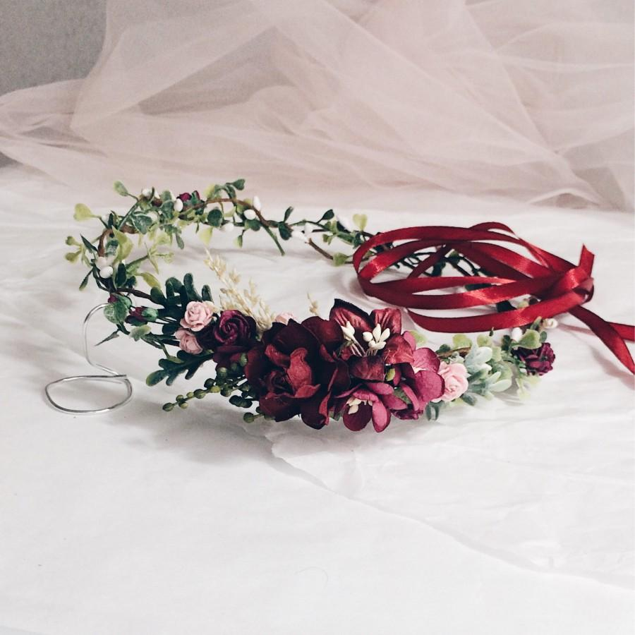 Burgundy And Greenery Fall Burgundy Flower Crown Fall Autumn Flower