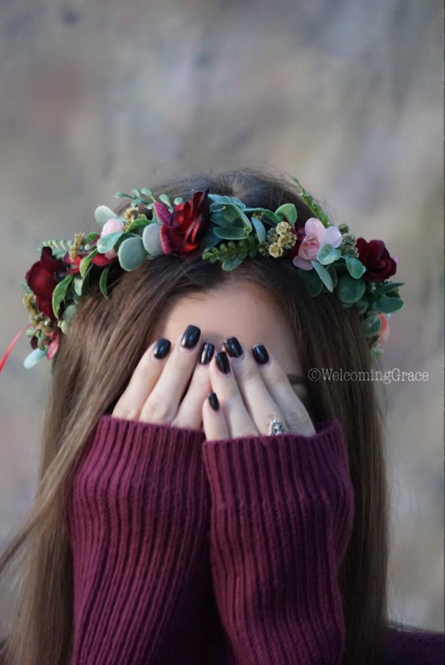 Flower crown wedding burgundy floral crown blush flower crown flower crown wedding burgundy floral crown blush flower crown greenery maroon crown christmas flower crown bridal flower crown wedding izmirmasajfo