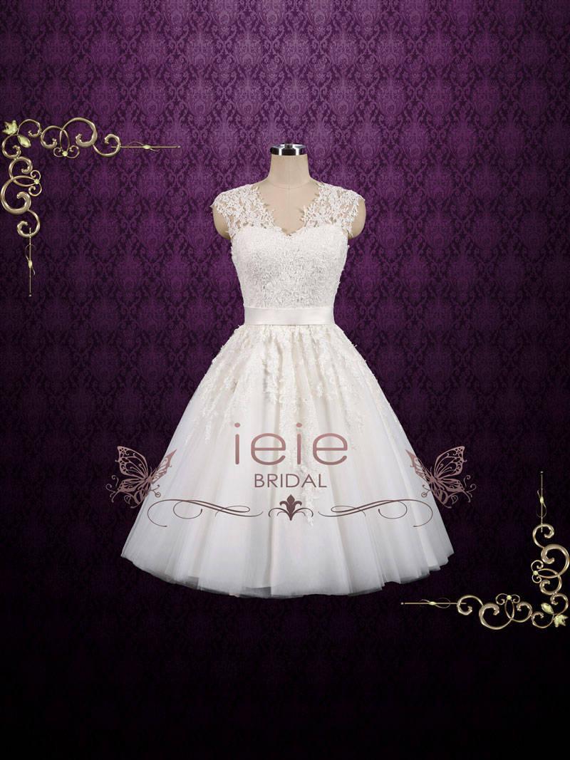 Boda - Vintage Short Lace Wedding Dress