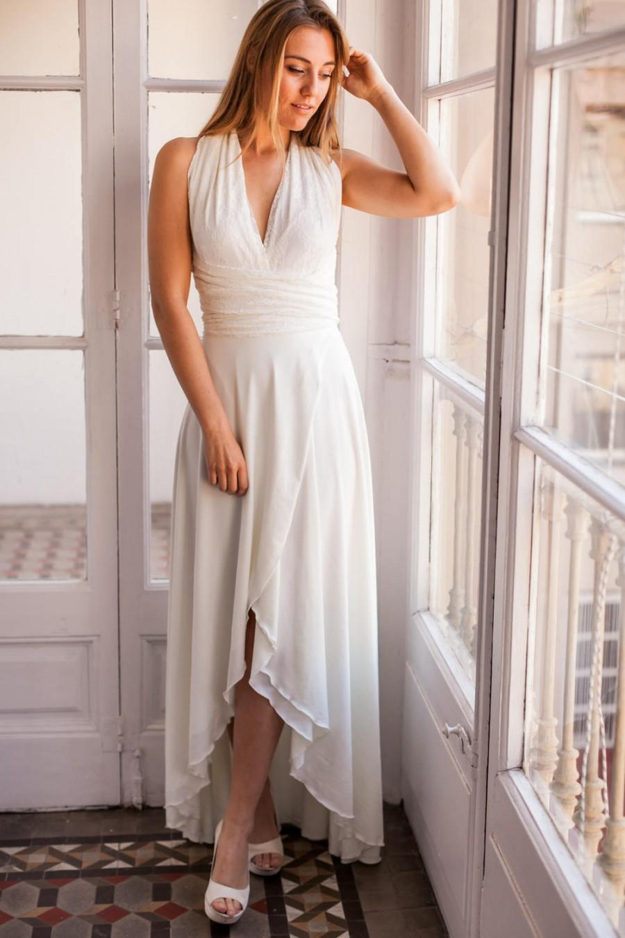 Front Slit Wedding Dress With High Low Showing Legs Halter Skirt