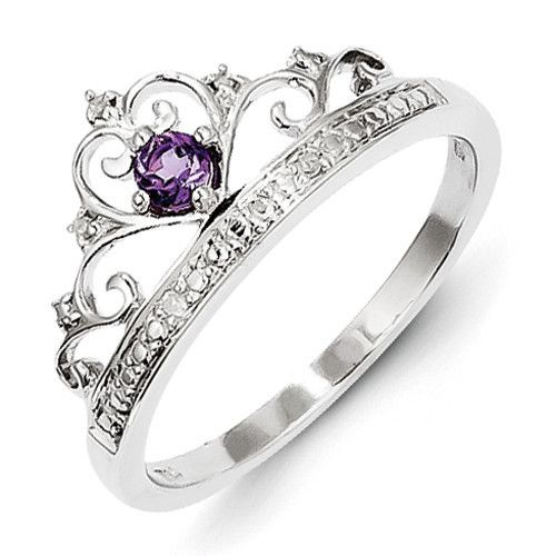 زفاف - Sterling Silver Genuine Amethyst And Diamond Princess Crown Ring