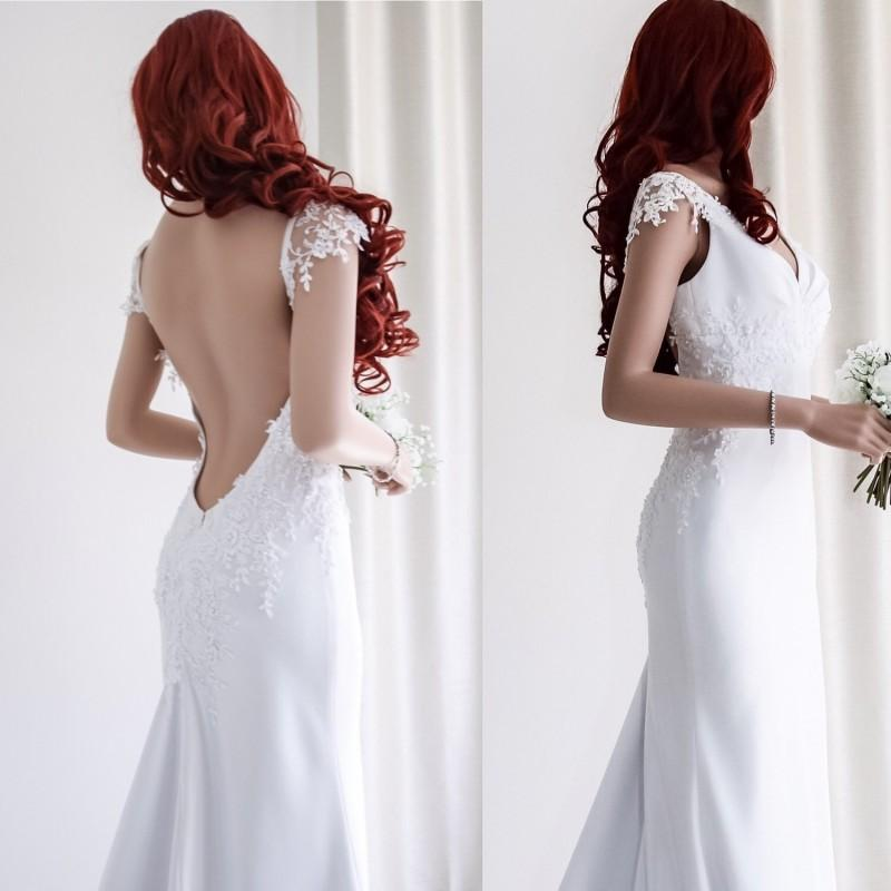 Wedding - Low back Beach wedding dress/V-neck Backless wedding gown/ Cup sleeve wedding dress/Simple wedding dress. - Hand-made Beautiful Dresses