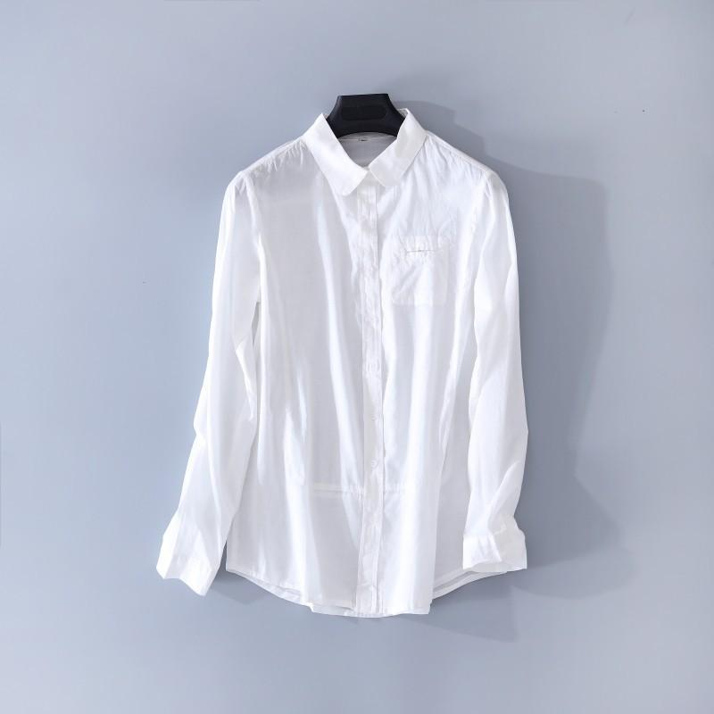 Wedding - Must-have Office Wear Simple Attractive Slimming Cotton White One Color Spring Long Sleeves Blouse - Lafannie Fashion Shop
