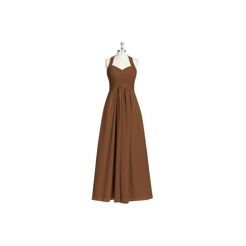 Свадьба - Brown Azazie Savannah - Bow/Tie Back Chiffon Halter Floor Length Dress - Charming Bridesmaids Store