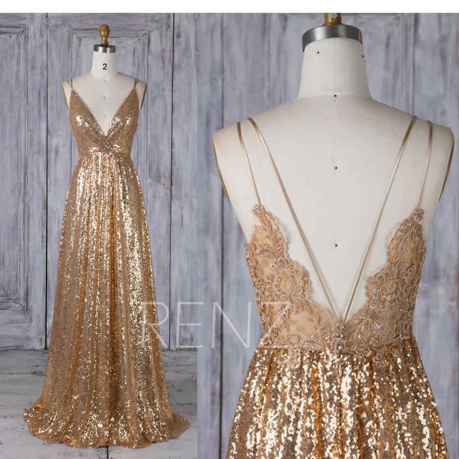 زفاف - Bridesmaid Dress Gold Sequin Wedding Dress,Spaghetti Straps Maxi Dress,Illusion Lace Low Back Evening Dress,A Line V Neck Party Dress(HQ580)