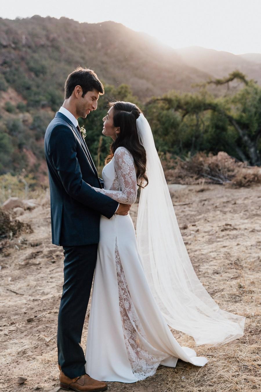 "Wedding - Long Sleeve Wedding Dress, A-line Lace Crepe Wedding Dress with Lace Back - ""Liz"", Simple Wedding Dress, Lace Wedding Dress, Custom Order"