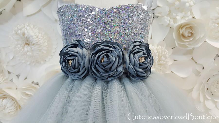 Wedding - Silver Gray Flower Girl Tutu Dress-Silver Gray Tutu Dress-Silver Gray Dress-Silver Gray Bride Dress-Silver Gray Tutu-Gray Birthday Tutu.
